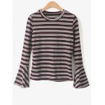 Round Neck Flare Sleeve Striped Knitwear