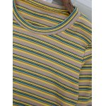 Round Neck Flare Sleeve Striped Knitwear deal