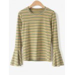 cheap Round Neck Flare Sleeve Striped Knitwear
