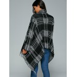 Shawl Collar Checked Cape Fringed Overcoat photo