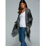 best Shawl Collar Checked Cape Fringed Overcoat