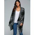 Shawl Collar Checked Cape Fringed Overcoat for sale