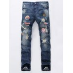 Patch Design Five-Pocket Scratched Ripped Jeans