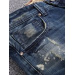cheap Patch Design Five-Pocket Scratched Ripped Jeans