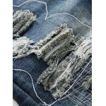 Frayed Stitching Zipper Fly Ripped Jeans for sale