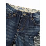 cheap Frayed Stitching Zipper Fly Ripped Jeans