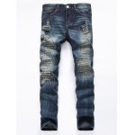 Buy Frayed Stitching Zipper Fly Ripped Jeans 34 DEEP BLUE