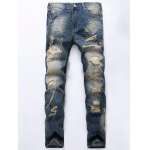 Vintage Style Straight Destroyed Jeans