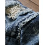 Scratched Frayed Zipper Fly Ripped Jeans for sale