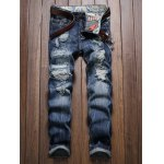 Frayed Zipper Fly Scratched Ripped Jeans