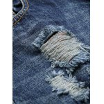 Frayed Zipper Fly Scratched Ripped Jeans for sale