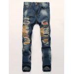 Patched Scratched Pocket Rivet Ripped Jeans