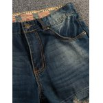 cheap Patched Scratched Pocket Rivet Ripped Jeans