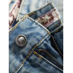 cheap Patch Design Ripped Light Jeans