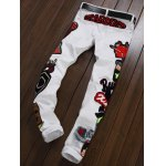 Zipper Fly Figure Embroidered Appliques Jeans deal