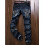 cheap Owl Embroidered Rivet Embellished Ripped Jeans