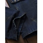 Owl Embroidered Rivet Embellished Ripped Jeans for sale