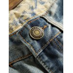 cheap Patch Design Zipper Fly Frayed Ripped Jeans