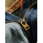 Patch Design Zipper Fly Frayed Ripped Jeans deal