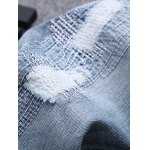 Stitching Zipper Ripped Light Jeans for sale