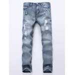 Frayed Stitching Scratched Zipper Fly Ripped Jeans