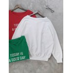 cheap Letter Embroidered V Neck Sweatshirt