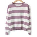 cheap Slit Striped Loose Sweater