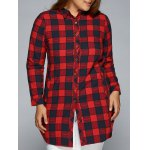 Plus Size Slit Long Sleeve Plaid Shirt