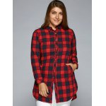 Plus Size Slit Long Sleeve Plaid Shirt photo