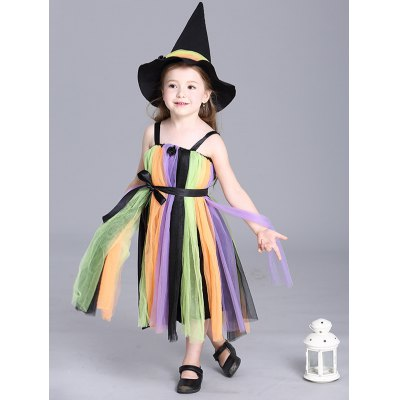Spaghetti Strap Maxi Halloween Rainbow Color Dress
