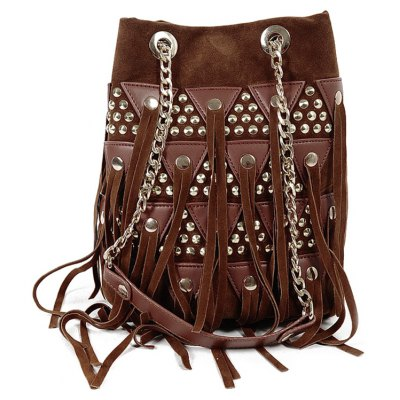 Metal Rivets Splicing Crossbody Bag