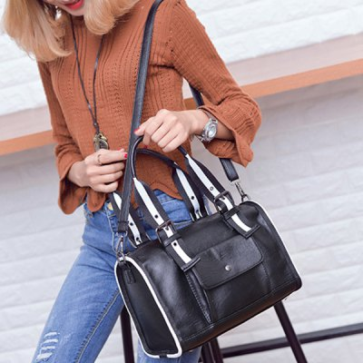 Two-Tone Buckles Tote Bag