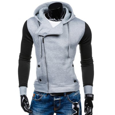 Side Zipper-Up Color Block Hoodie