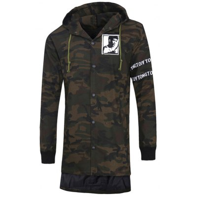 Graphic Print Button Up Camo Hooded High Low Coat