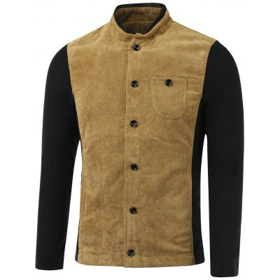 Color Block Splicing Corduroy Stand Collar Single-Breasted Jacket