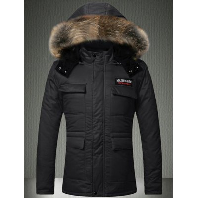 Multi-Pocket Faux Fur Hooded Quilted Jacket