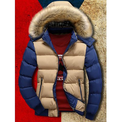 Detachable Faux Fur Hood Zip Up Two Tone Quilted Jacket