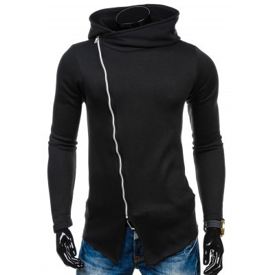 Side Zipper Up Asymmetric Hoodie
