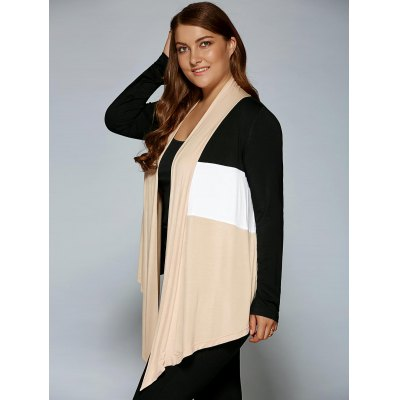 Plus Size Open Front Asymmetrical CardiganPlus Size Outerwear<br>Plus Size Open Front Asymmetrical Cardigan<br><br>Clothes Type: Jackets<br>Material: Polyester,Spandex<br>Type: Asymmetric Length<br>Clothing Length: Regular<br>Sleeve Length: Full<br>Collar: Collarless<br>Pattern Type: Patchwork<br>Embellishment: Spliced<br>Style: Casual<br>Season: Spring,Summer<br>Weight: 0.390kg<br>Package Contents: 1 x Cardigan