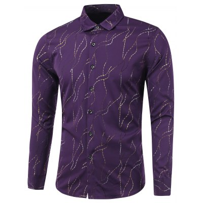 Golden Waviness Print Long Sleeve Formal Shirts