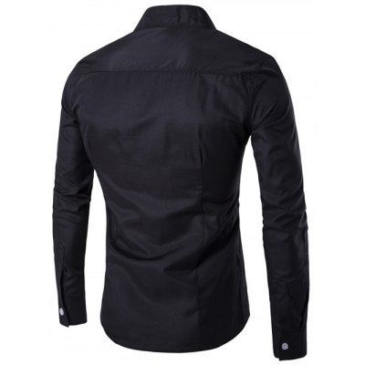 Asymmetric Navy Shirt for MenMens Shirts<br>Asymmetric Navy Shirt for Men<br><br>Collar: Stand Collar<br>Material: Cotton, Polyester<br>Package Contents: 1 x Shirt<br>Shirts Type: Casual Shirts<br>Sleeve Length: Full<br>Weight: 0.1840kg