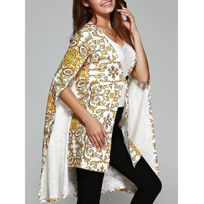 Asymmetric Tribal Print Cape Coat