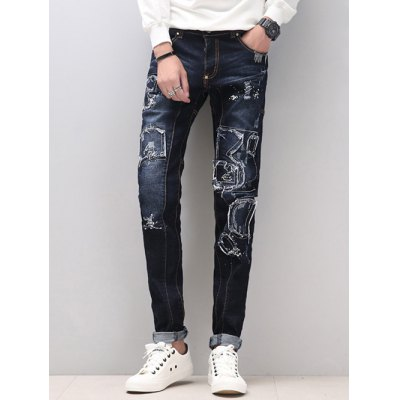 Zipper Fly Narrow Feet Splicing Design Distressed JeansMens Jeans<br>Zipper Fly Narrow Feet Splicing Design Distressed Jeans<br><br>Material: Cotton,Jeans,Polyester<br>Pant Length: Long Pants<br>Wash: Destroy Wash<br>Fit Type: Regular<br>Waist Type: Mid<br>Closure Type: Zipper Fly<br>Weight: 0.800kg<br>Package Contents: 1 x Jeans