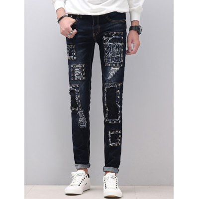 Zipper Fly Stud Embellished Skinny Distressed Jeans