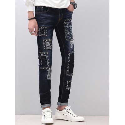 Zipper Fly Narrow Feet Stud Embellished Distressed JeansMens Jeans<br>Zipper Fly Narrow Feet Stud Embellished Distressed Jeans<br><br>Material: Cotton,Jeans,Polyester<br>Pant Length: Long Pants<br>Wash: Destroy Wash<br>Fit Type: Regular<br>Waist Type: Mid<br>Closure Type: Zipper Fly<br>Weight: 0.800kg<br>Package Contents: 1 x Jeans