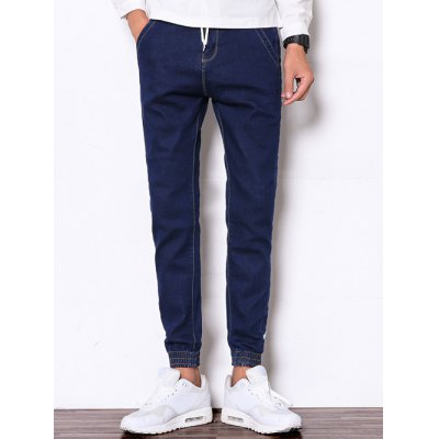 Drawstring Zipper Fly Beam Feet Denim Jogger Pants