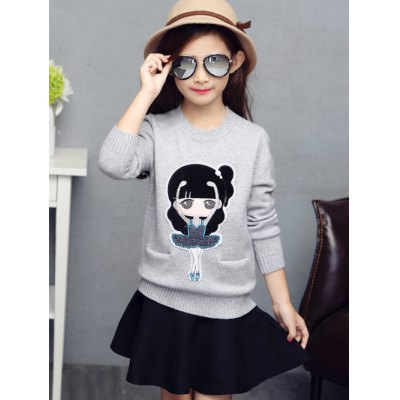 Little Girl Embroidered Knit Sweater