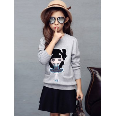 Figure Embroidered Knit Sweater