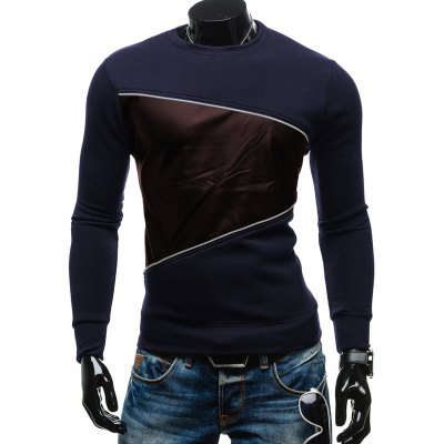 Crew Neck PU Spliced Sweatshirt