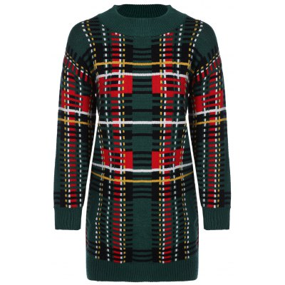 Crew Neck Tribal Fitted Sweater Dress